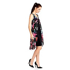 Wallis - Black floral overlay dress