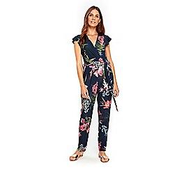 Wallis - Navy floral jumpsuit