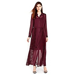 Wallis - Berry lace insert shirt maxi dress