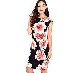 Wallis - Black jersey floral printed dress