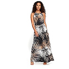 Wallis - Neutral palm print maxi dress