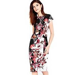 Wallis - Pink floral lily tie side dress