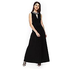 Wallis - Black embellished neck maxi dress