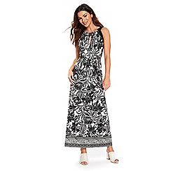 Wallis - Monochrome leaf blocked maxi dress