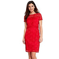 Wallis - Red lace cap sleeves dress