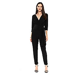 Wallis - Black wrap detailed jumpsuit