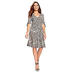 Wallis - Neutral paisley wrap dress