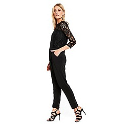 Wallis - Black slash neck lace jumpsuit