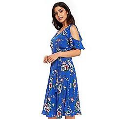 Wallis - Blue floral cold shoulder midi dress