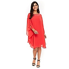 Wallis - Coral embellished neckline kaftan dress