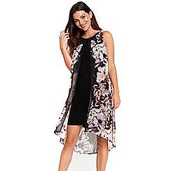 Wallis - Black floral split front dress