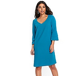 Wallis - Teal double flute sleeves dress