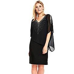Wallis - Black embellished V-neck overlayer dress