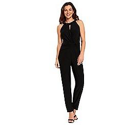 Wallis - Black embellished neck wrap jumpsuit