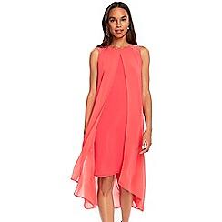 Wallis - Coral embellished split front overlay dress