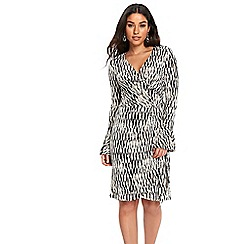Wallis - Monochrome geometric wrap dress