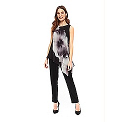 Wallis - Black floral overlayer jumpsuit