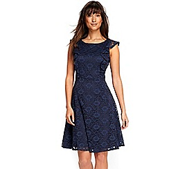 Wallis - Navy ruffle lace dress