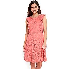 Wallis - Coral ruffle lace dress