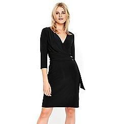 Wallis - Black d-ring wrap dress