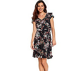 Wallis - Black daisy ruffle fit and flare dress