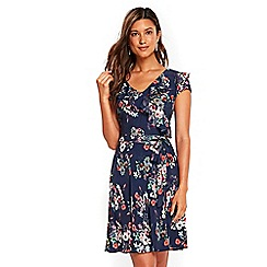 Wallis - Navy daisy ruffle fit and flare dresses