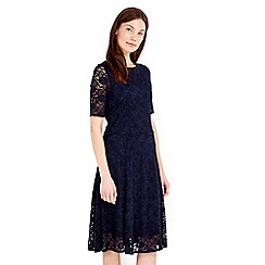 Wallis - Navy floral lace fit & flare dress