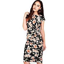 Wallis - Black orange floral printed dress