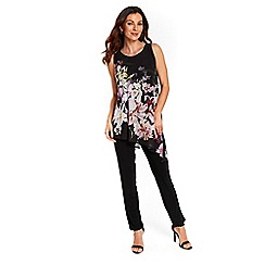 Wallis - Black floral asymmetric jumpsuit