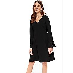 Wallis - Black eyelet flute sleeve dress