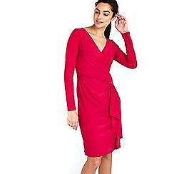 Wallis - Pink plain ruffle dress