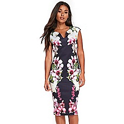 Wallis - Navy mirrored orchid floral scuba dress