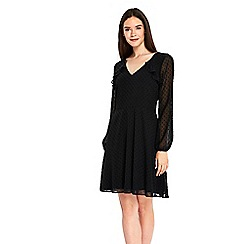 Wallis - Black spotty fit and flare dress