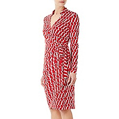 Wallis - Red geo print wrap dress