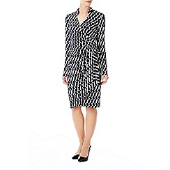 Wallis - Navy geo print wrap dress