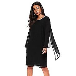 Wallis - Black embellished cape shift dress