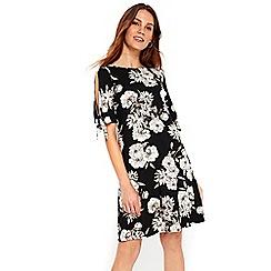 Wallis - Monochrome floral tie sleeves dress