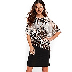 Wallis - Neutral twin ombre animal overlayer dress