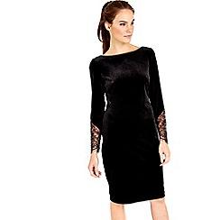 Wallis - Black lace insert velvet dress