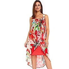 Wallis - Coral floral layered dress