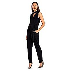 Wallis - Black collar detail jumpsuit