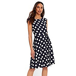 Wallis - Navy spot fit and flare dress