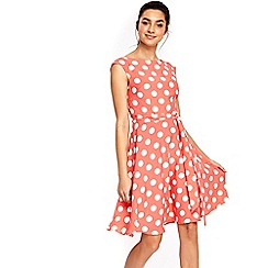 Wallis - Coral spot fit and flare dress