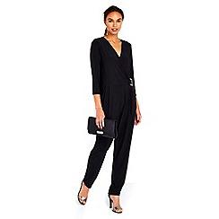 Wallis - Black wrap top buckle jumpsuit