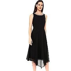 Wallis - Black embellished neck aysmmetric dress