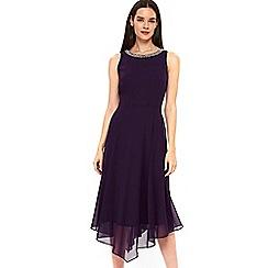 Wallis - Purple embellished neck asymmetric dress