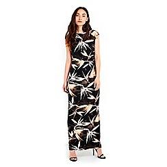 Wallis - Printed neutral black floral maxi dress