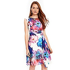 Wallis - Cream watercolour print fit and flare dress