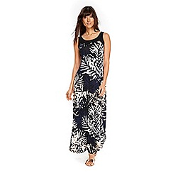 Wallis - Black abstract palm maxi dress