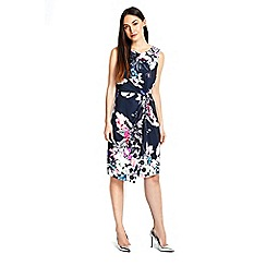 Wallis - Navy floral knot side dress
